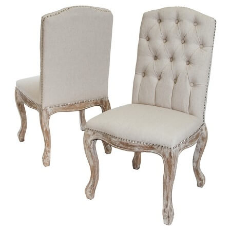 French Cream Linen Sweetheart Chairs | Uniquely Chic Vintage