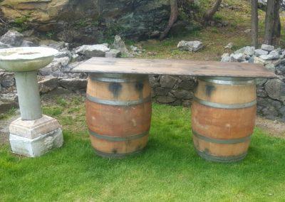 Bird Bath and Barrels