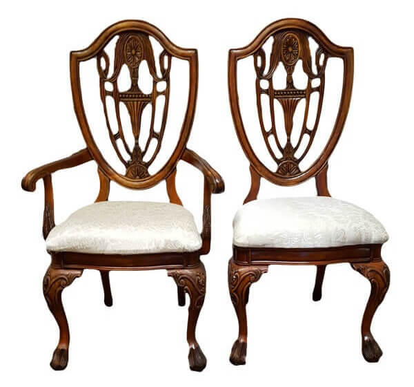 Carved Wood & Ivory His & Her's Sweetheart Chairs | Uniquely Chic Vintage