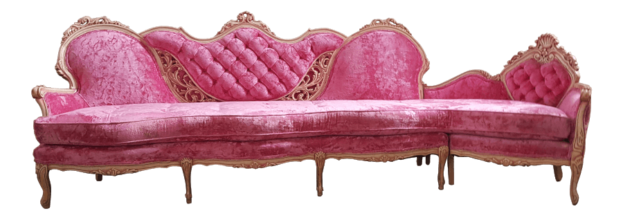Hot Pink Velvet Sectional Sofa | Uniquely Chic Vintage Rentals