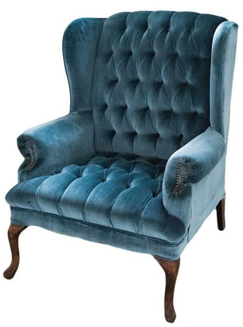 Blue Velvet Wingback Chair | Uniquely Chic Vintage Rentals