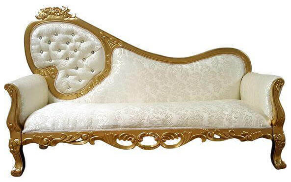 Gold & Ivory Diamond Chaise | Uniquely Chic Vintage Rentals