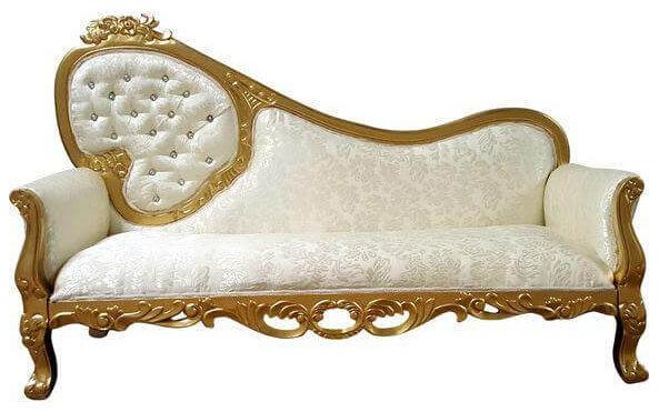 Gold & Ivory Diamond Chaise | Uniquely Chic Vintage