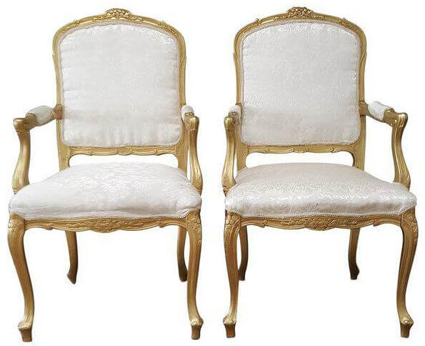 Louis XIV Ivory Brocade & Gold Chairs | Uniquely Chic Vintage Rentals