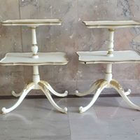 Ivory & Gold Tiered End Tables | Uniquely Chic Vintage Rentals