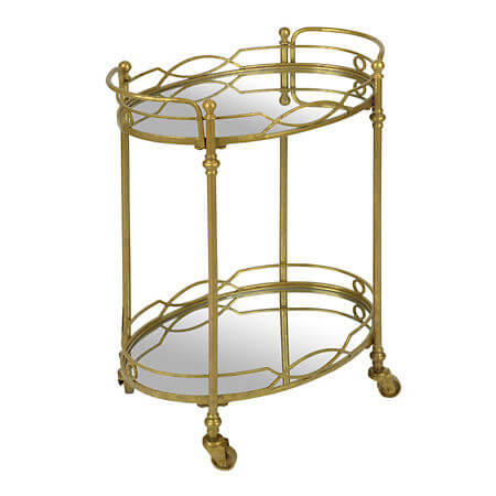 Gold Mirrored Bar Cart | Uniquely Chic Vintage Rentals