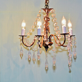Small Crystal Cherub Hanging Chandelier | Uniquely Chic Vintage Rentals