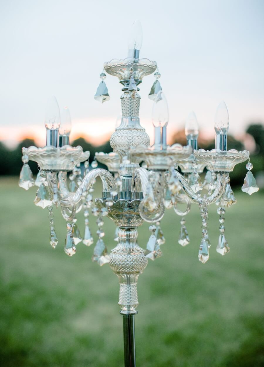 Free Standing Silver Crystal Chandelier | Uniquely Chic Vintage Rentals