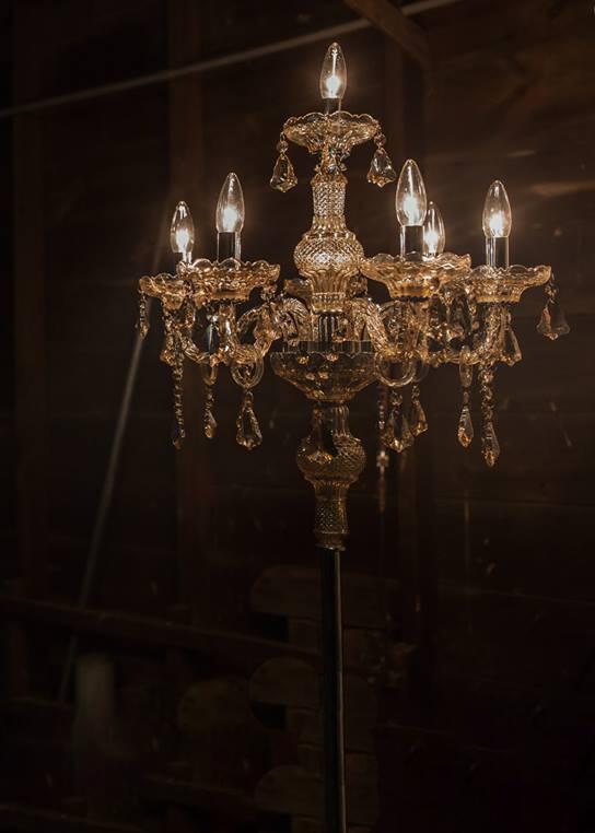 Free Standing Silver Crystal Chandelier (Dark) | Uniquely Chic Vintage Rentals