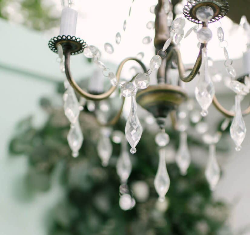 Small Crystal Cherub Hanging Chandelier  (Detail) | Uniquely Chic Vintage Rentals