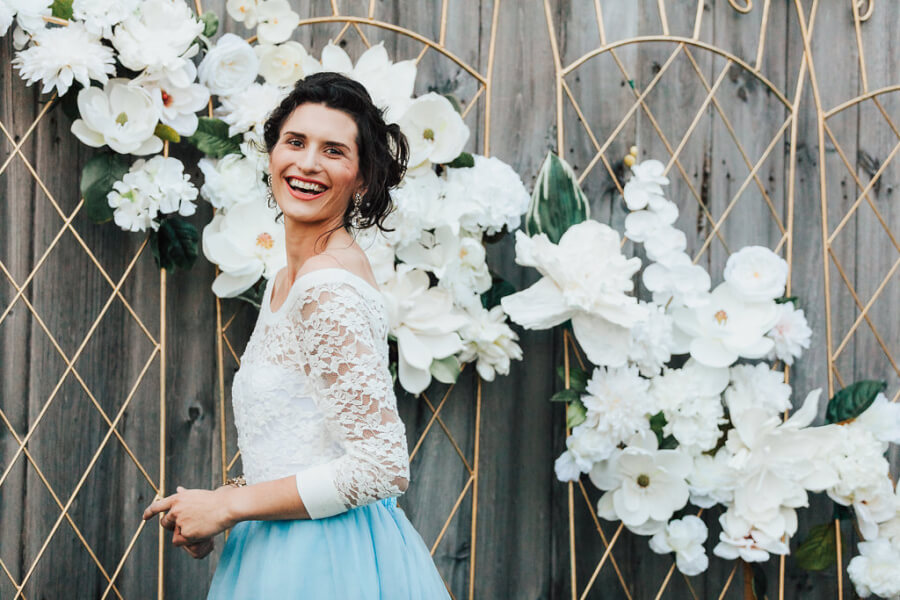 White Flower Trellis Backdrop Closeup