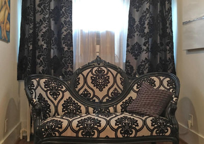 silver crepe and black chenille damask