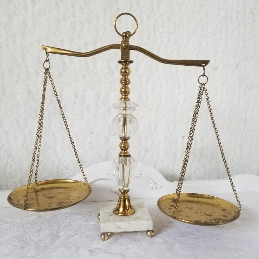 Brass & Crystal Scales | Uniquely Chic Vintage Rentals