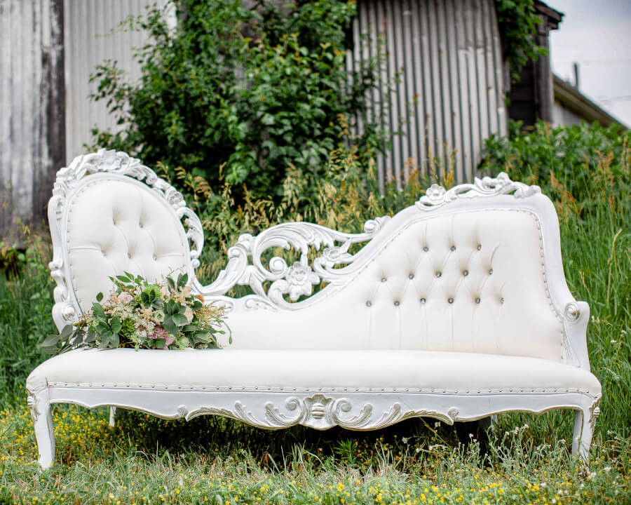 Silver Filigree Chaise on Franklin Farm