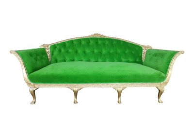 Gold Leaf Green Velvet Sofa
