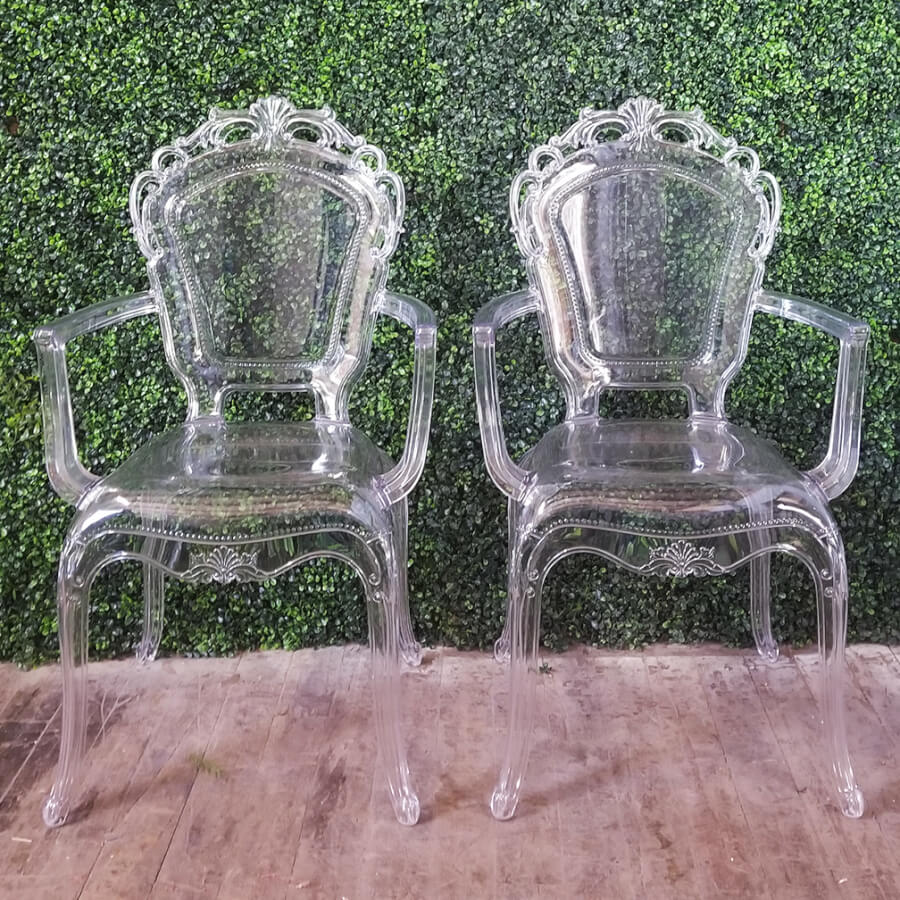 Victorian Lucite Ghost Chairs | Uniquely Chic Vintage Rentals