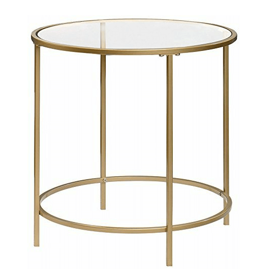 Round Glass End Tables | Uniquely Chic Vintage Rentals