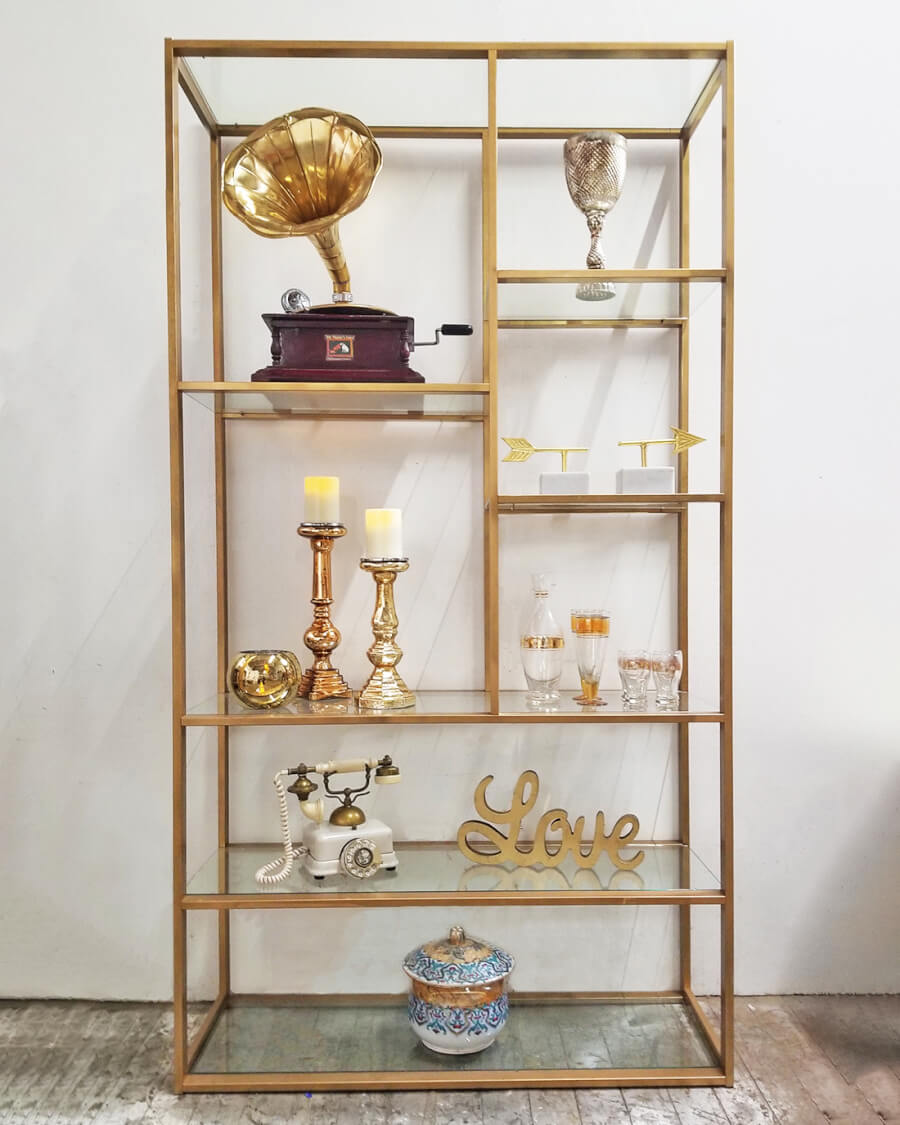 Modern Gold & Glass Shelf | Uniquely Chic Vintage Rentals