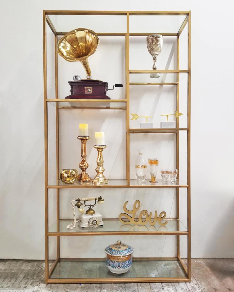 Modern Gold & Glass Shelf | Uniquely Chic Vintage Rentals