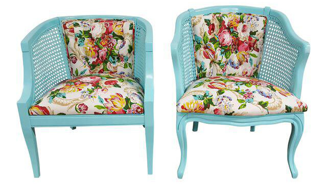 Tiffany Blue & Floral Chairs (A Pair) | Uniquely Chic Vintage Rentals
