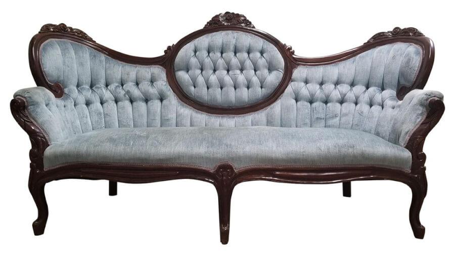 Blue Velvet Sofa | Uniquely Chic Vintage Rentals