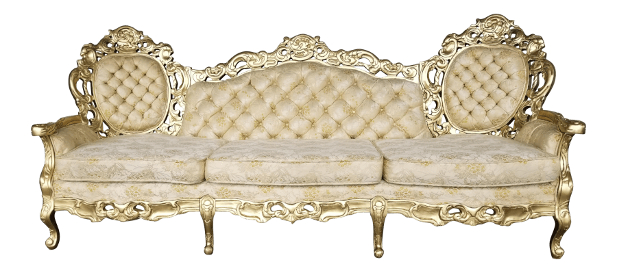 Upholstered Seating - Baroque Cream & Gold Tufted Sofa | Uniquely Chic Vintage Rentals