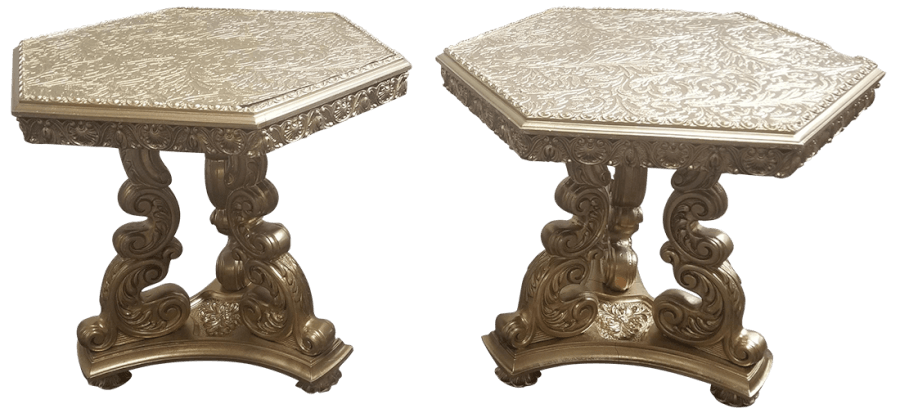 Victorian Gold Side Table Pair | Uniquely Chic Vintage Rentals