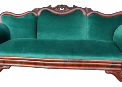 Emerald Green and Mahogany Sofa
