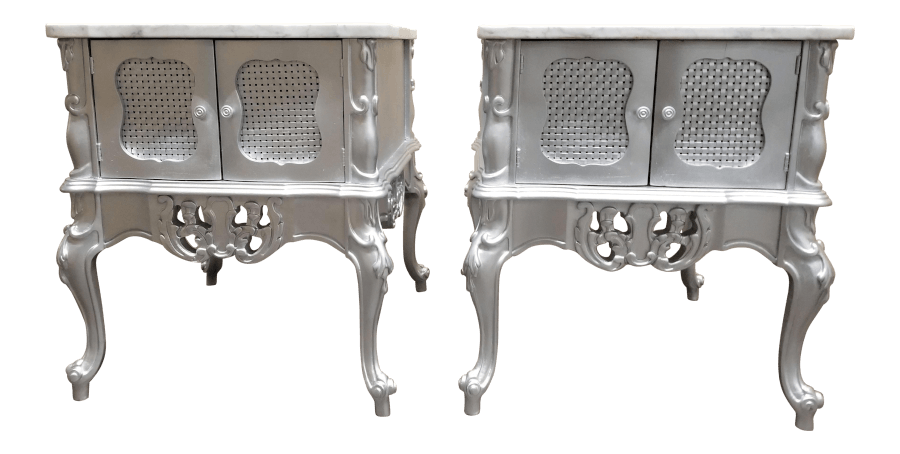 Silver & Marble Side Table Pair | Uniquely Chic Vintage Rentals