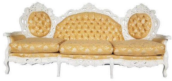 Ivory & Gold Brocade Victorian Couch | Uniquely Chic Vintage Rentals
