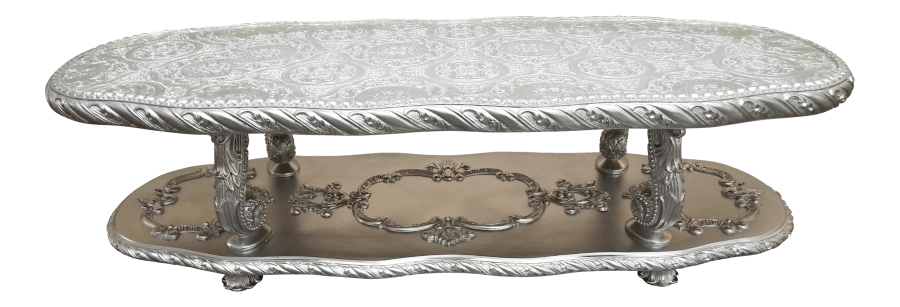 Hollywood Regency Silver Coffee Table | Uniquely Chic Vintage Rentals