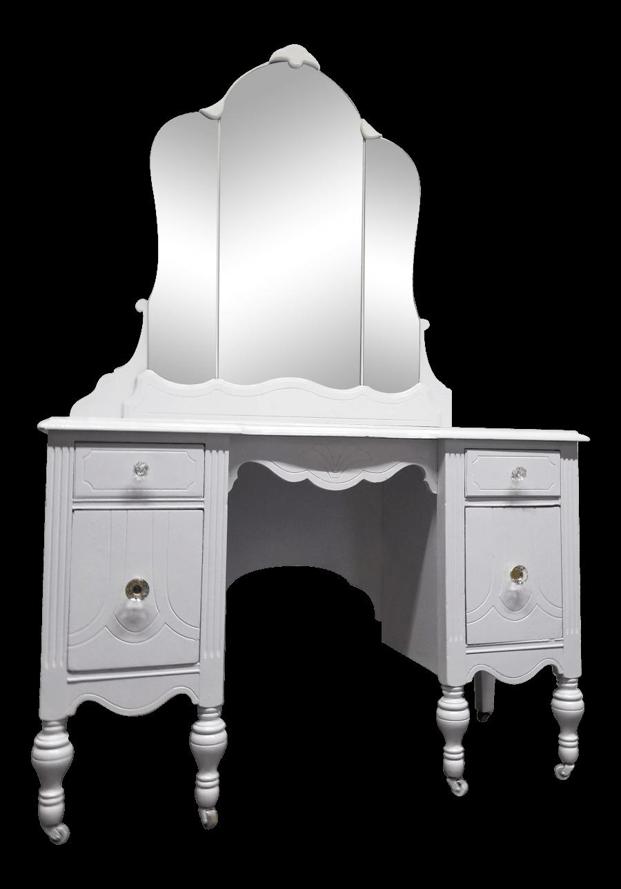 White Mirrored Vanity | Uniquely Chic Vintage Rentals
