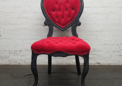 Red on Black Boudoir Sweetheart Chair