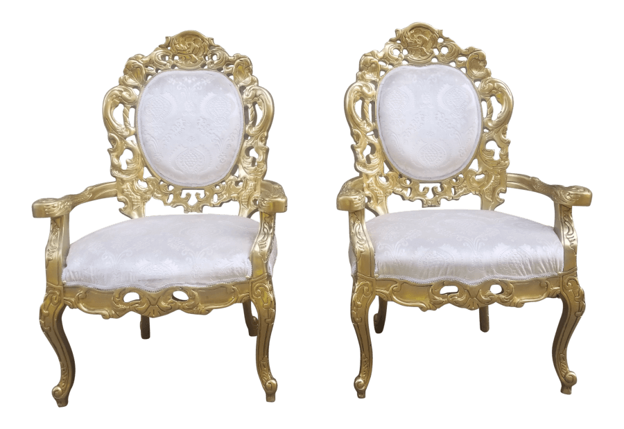 Gold & Ivory Velvet Chairs| Uniquely Chic Vintage Rentals
