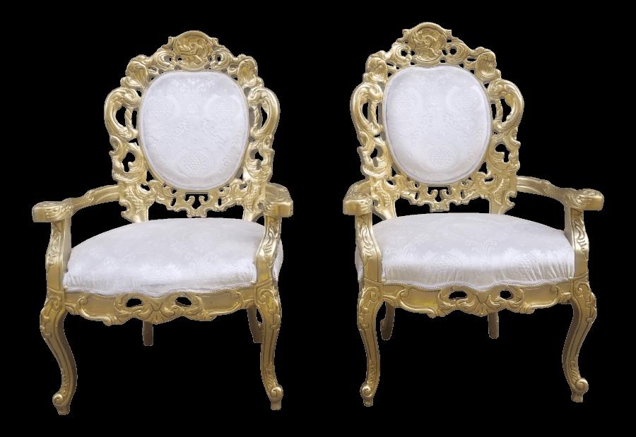 Gold & Ivory Velvet Chairs| Uniquely Chic Vintage Rentals