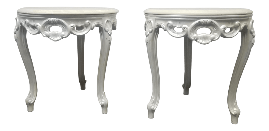 Pearlescent Marble Side Tables | Uniquely Chic Vintage Rentals