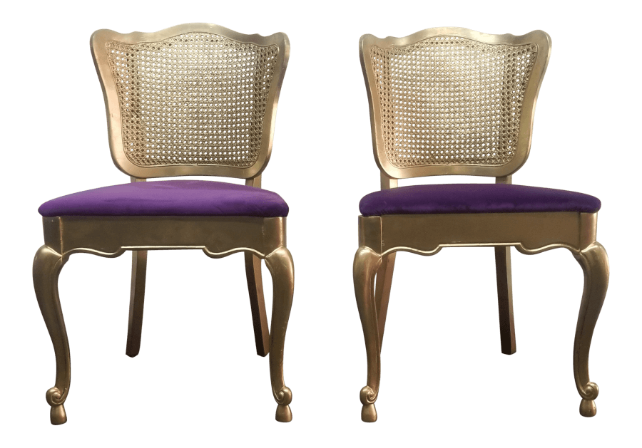 French Gold & Purple Velvet Chairs | Uniquely Chic Vintage Rentals