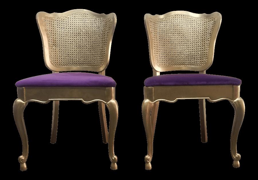 Purple Velvet Cane Chairs | Uniquely Chic Vintage Rentals