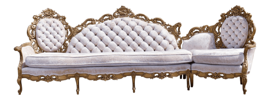 Hollywood Regency Gold & Ivory Couch | Uniquely Chic Vintage Rentals