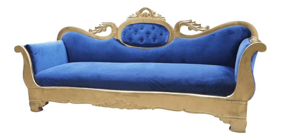 Gold & Blue Velvet Sofa| Uniquely Chic Vintage Rentals
