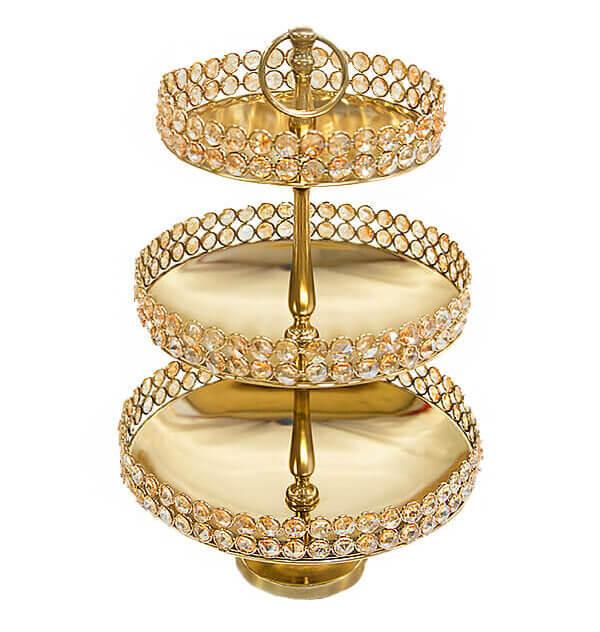Tiered Crystal & Gold Dessert Stand | Uniquely Chic Vintage Rentals