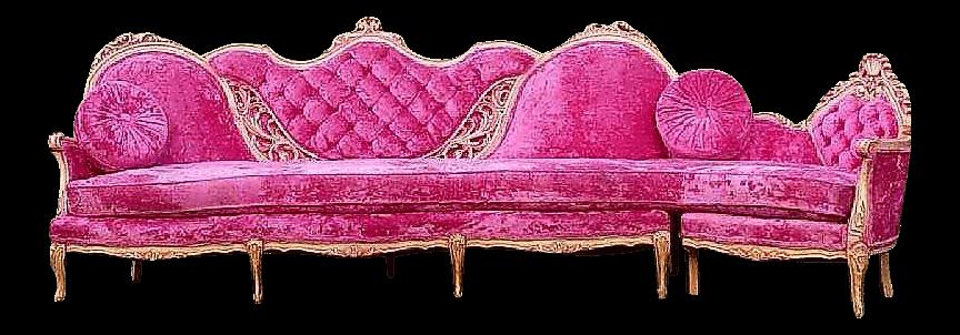 Hollywood Regency Pink Velvet Sofa | Uniquely Chic Vintage Rentals