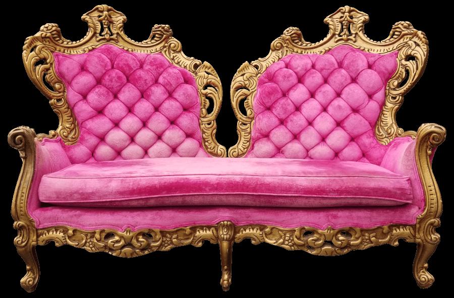 Regency Gold & Pink Loveseat | Uniquely Chic Vintage Rentals