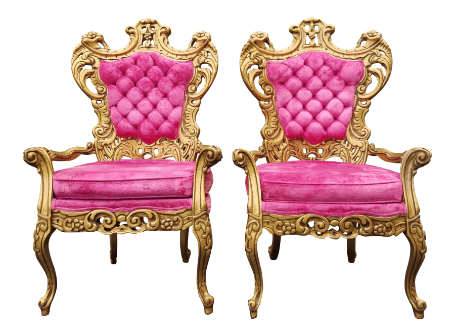 Regency Gold & Pink Velvet Chairs | Uniquely Chic Vintage Rentals