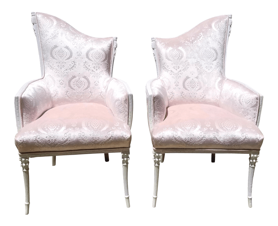 Blush Pink Velvet Sweetheart Chairs | Uniquely Chic Vintage Rentals
