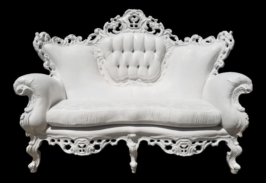Victorian Baroque White Loveseat | Uniquely Chic Vintage Rentals