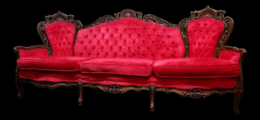 Baroque Red Velvet Sofa | Uniquely Chic Vintage Rentals