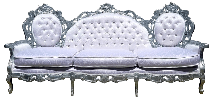 Silver & White Brocade Couch | Uniquely Chic Vintage Rentals