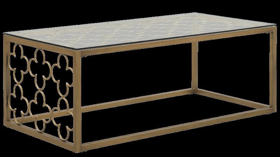 Gold Quatrefoil Coffee Table | Uniquely Chic Vintage Rentals