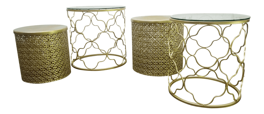 Gold Quatrefoil Nesting Tables | Uniquely Chic Vintage Rentals